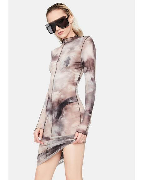 Spirit Live A Little Tie Dye Mesh Dress