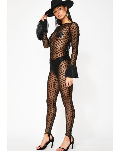Walk The Line Sheer Catsuit