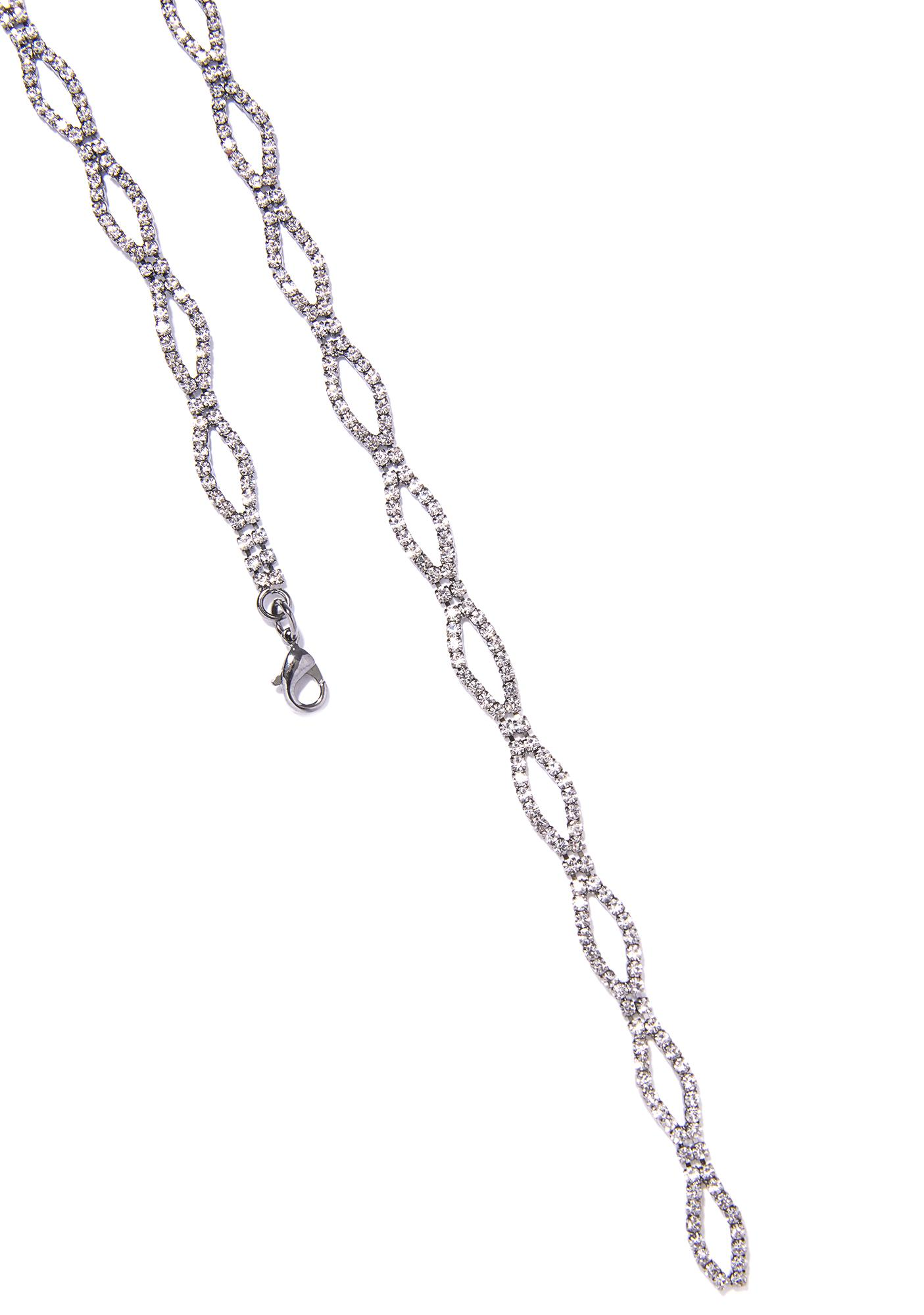 Lights Down Low Rhinestone Lariat Choker