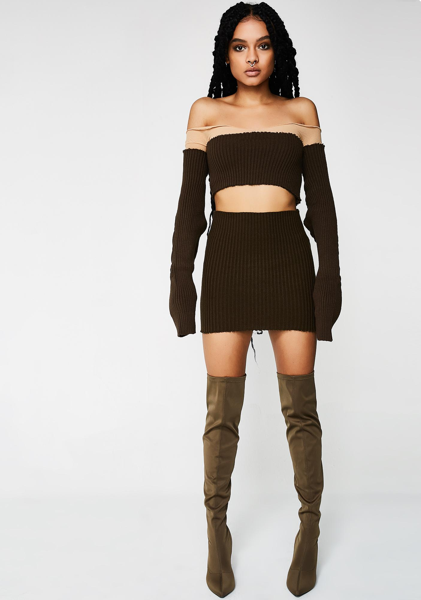 Plugged NYC Shoulderless Crop Top