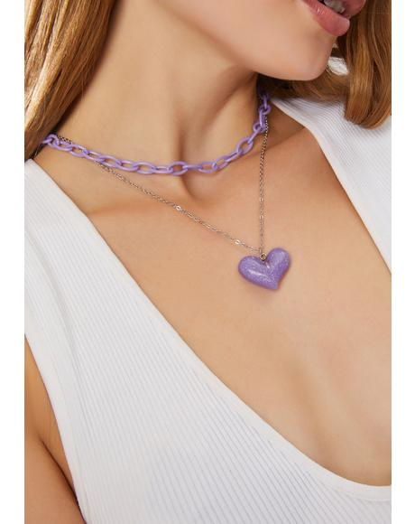 Sending Luv Chain Heart Necklace