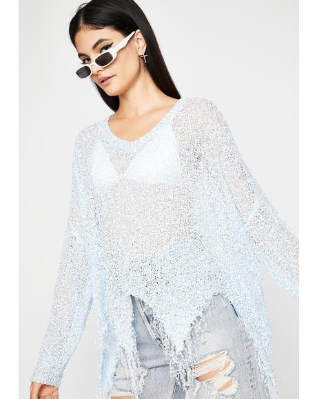 Chill Twisted Glitz Distressed Sweater