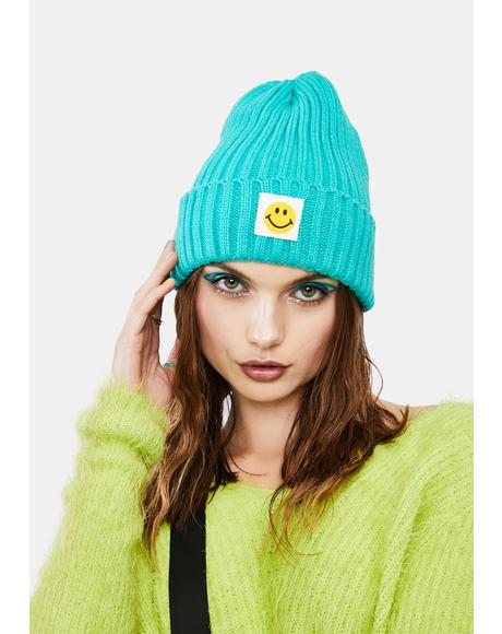 Teal Happiness Ribbed Beanie