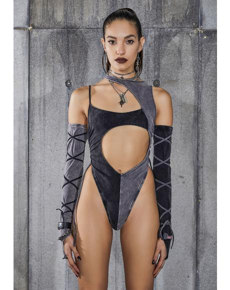 Snare Two-Tone Asymmetric Bodysuit And Gloves Set