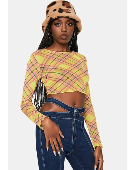 None Of Ur Beeswax Mesh Plaid Top