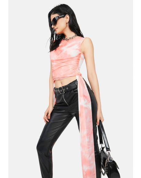Coral Likely To Misbehave Tie Dye Crop Top