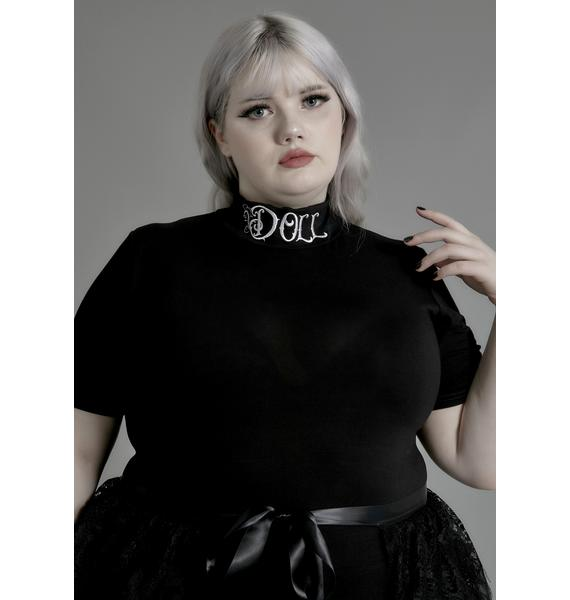 Widow I'm Not Your Doll Mock Neck Tee