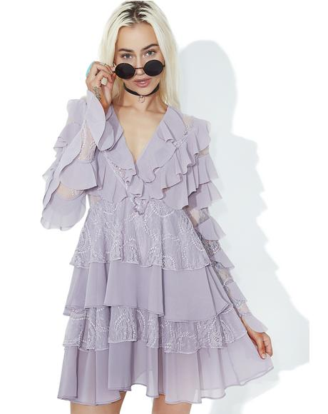 Lilac Ruffle Mini Dress