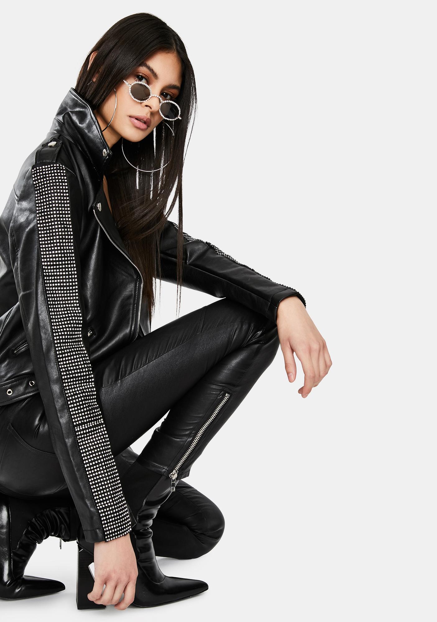 AZALEA WANG Controlla Rhinestone Moto Jacket