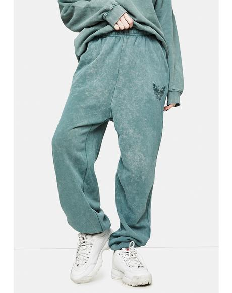 Megan Washed Green Sweatpants