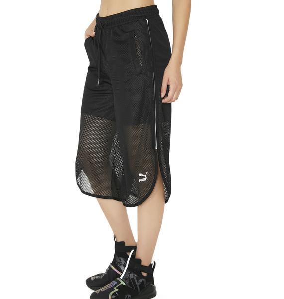 PUMA Black Xtreme Mesh Frill Shorts