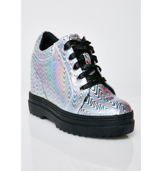 Club Exx Liquid Rainbowgasm Wedge Sneakers