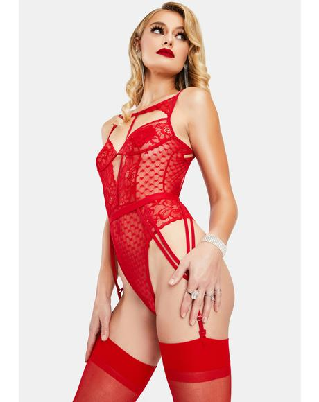 Seeking Truth Lace Cut Out Teddy