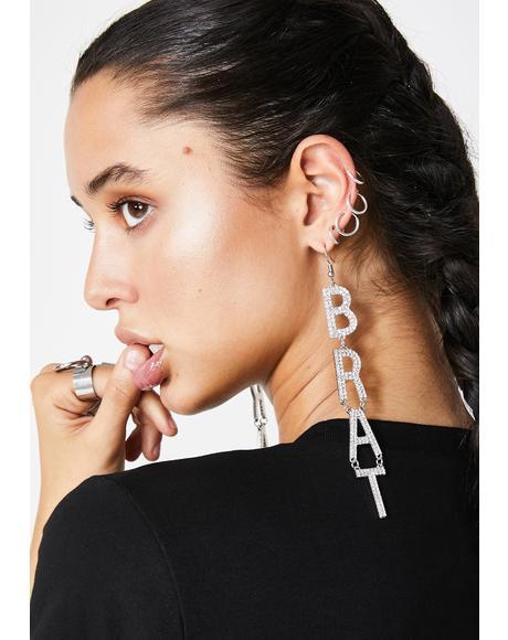 Bratty Behavior Rhinestone Earrings