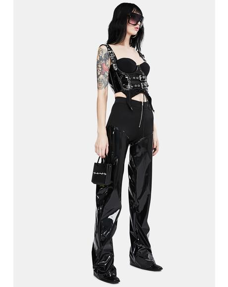 Black Vinyl Panel Wide Leg Pants