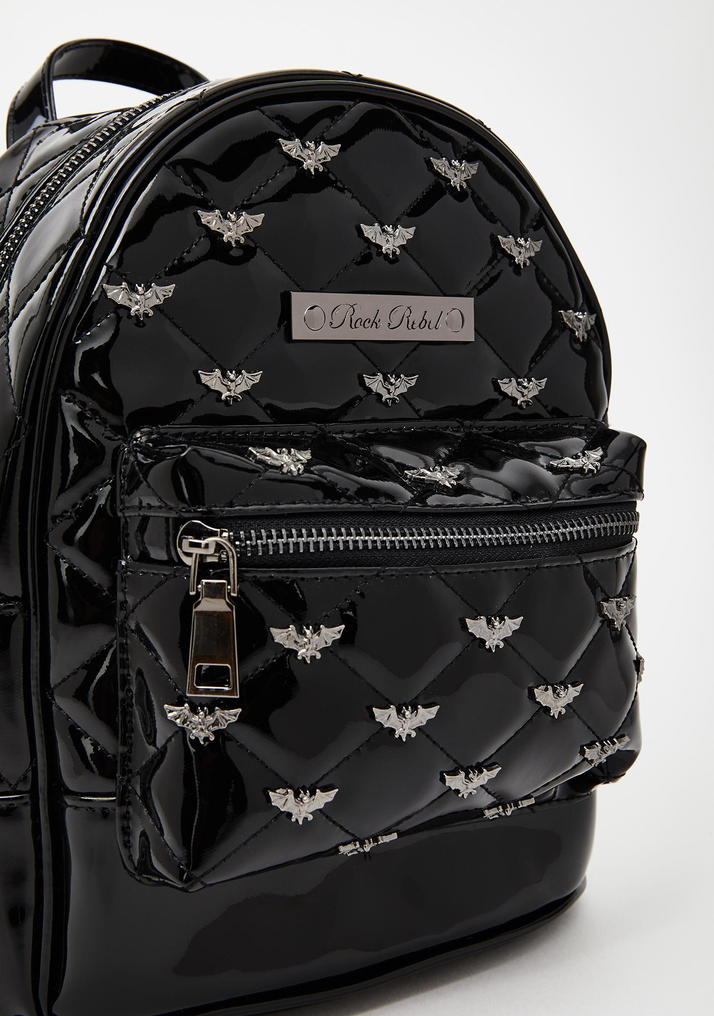 Rock Rebel Black Bats Quilted & Studded Mini Backpack