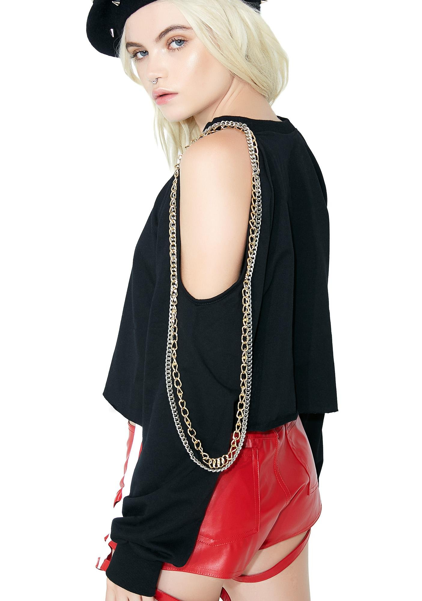 Death Stare Cut-Out Chain Sweater