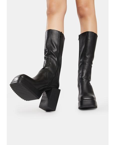 Snare Leather Squared Toe Platform Boots