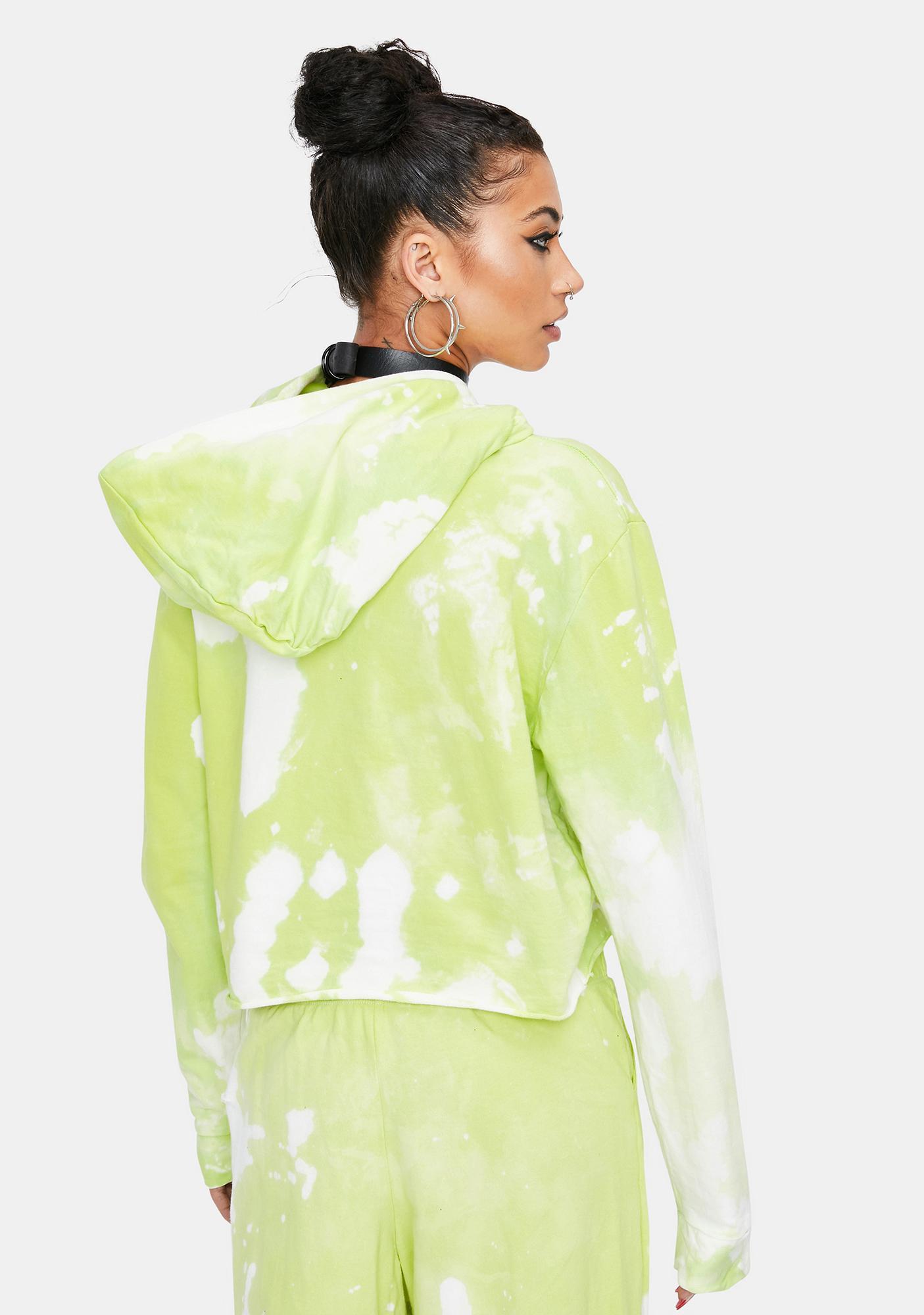 Ivy Berlin Green Apple Tie Dye Crop Hoodie