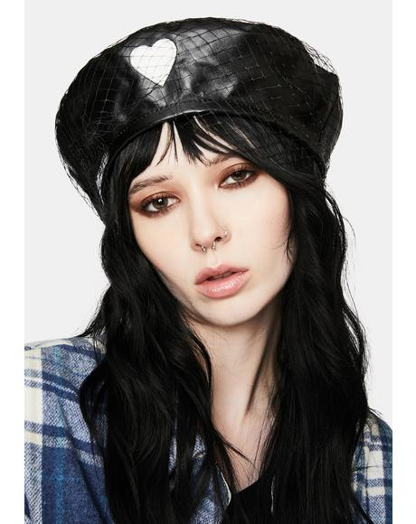 French Kiss Vegan Leather Beret
