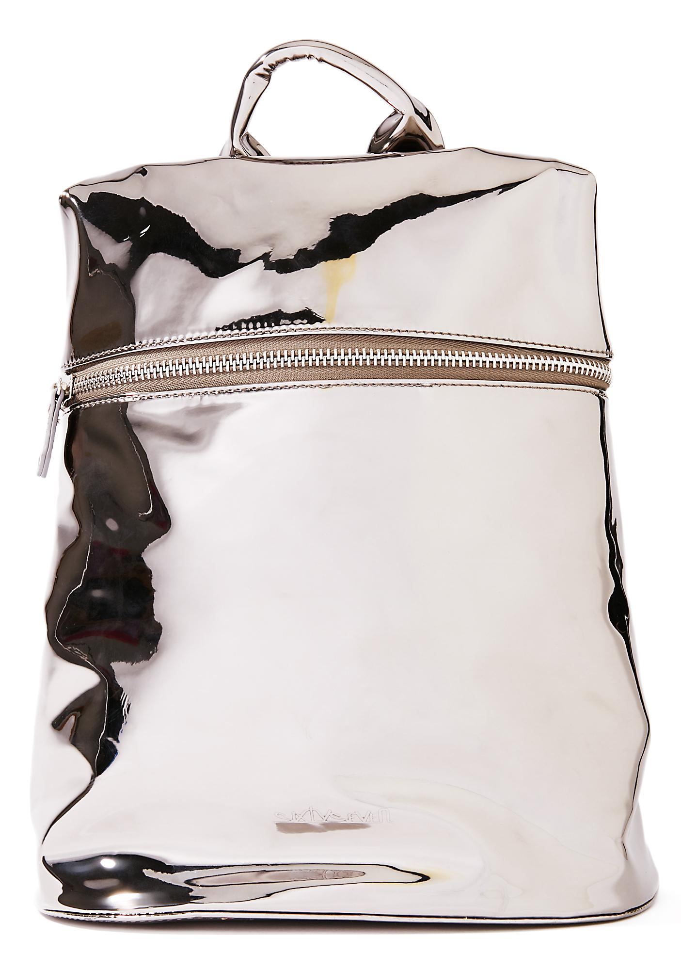Silver Technoglow Metallic Backpack