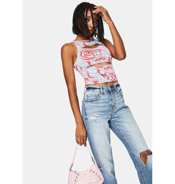 Candy Crazy Nights Cut Out Crop Top