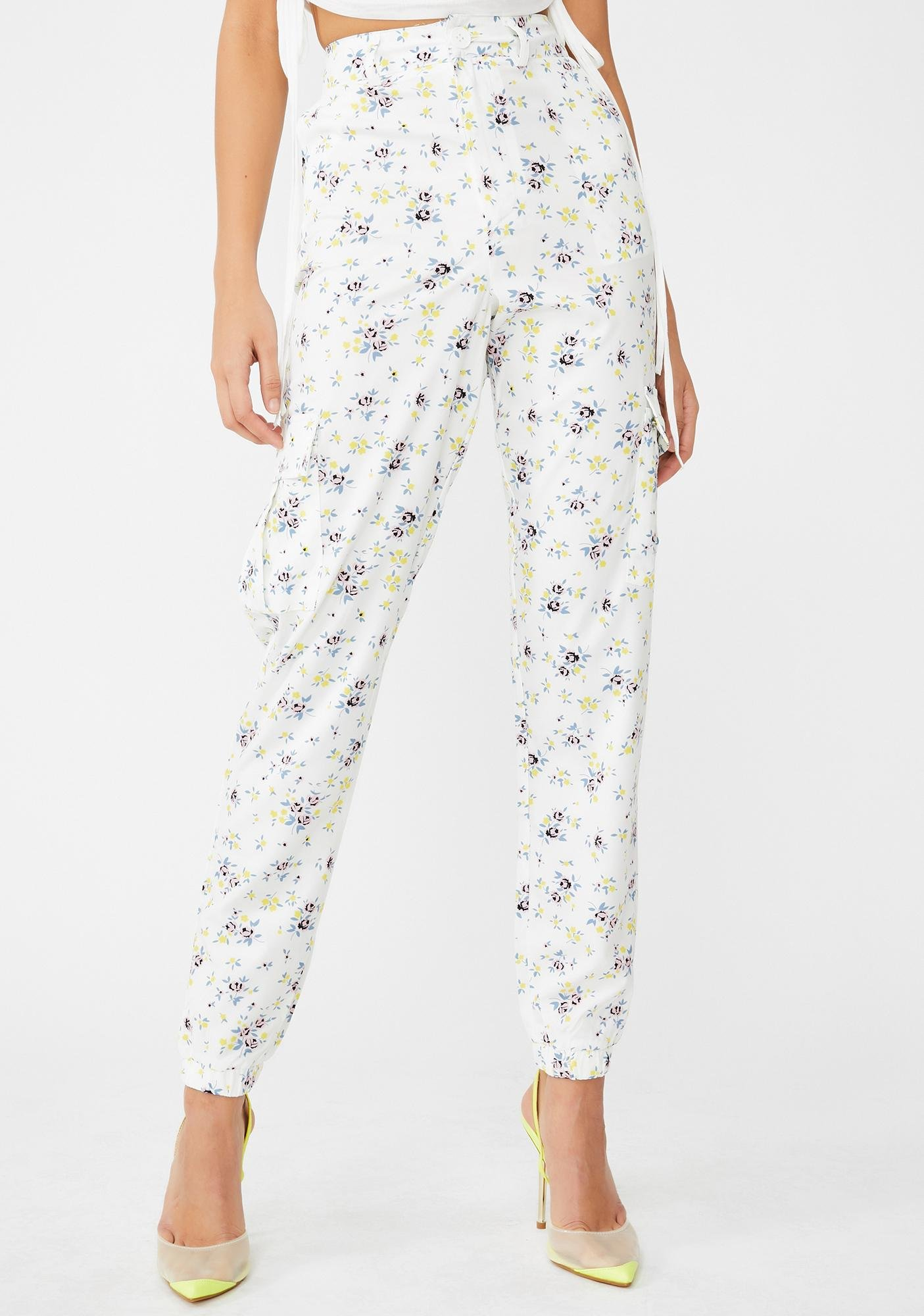Daisy Street Floral Print Utility Trousers