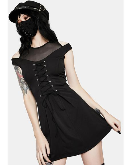 Punk Shoulder Cut Out Lace Up Dress