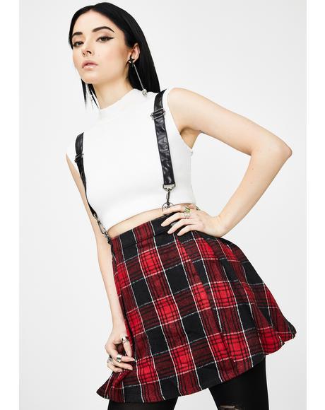 Plaid Woolen Lattice Pleated Half Skirt