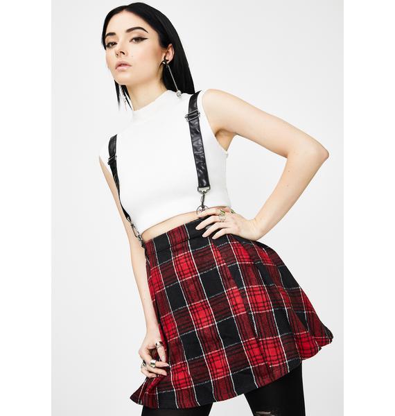 Punk Rave Plaid Woolen Lattice Pleated Half Skirt