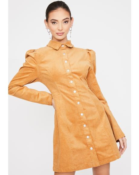 Long Sleeve Puff Sleeve Flare Dress