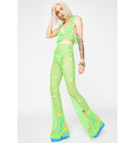 Glitter Kitten Green Crazy For Daisies Pant Set