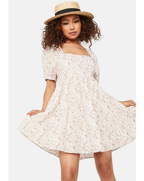 In The Garden Puff Sleeve Mini Dress