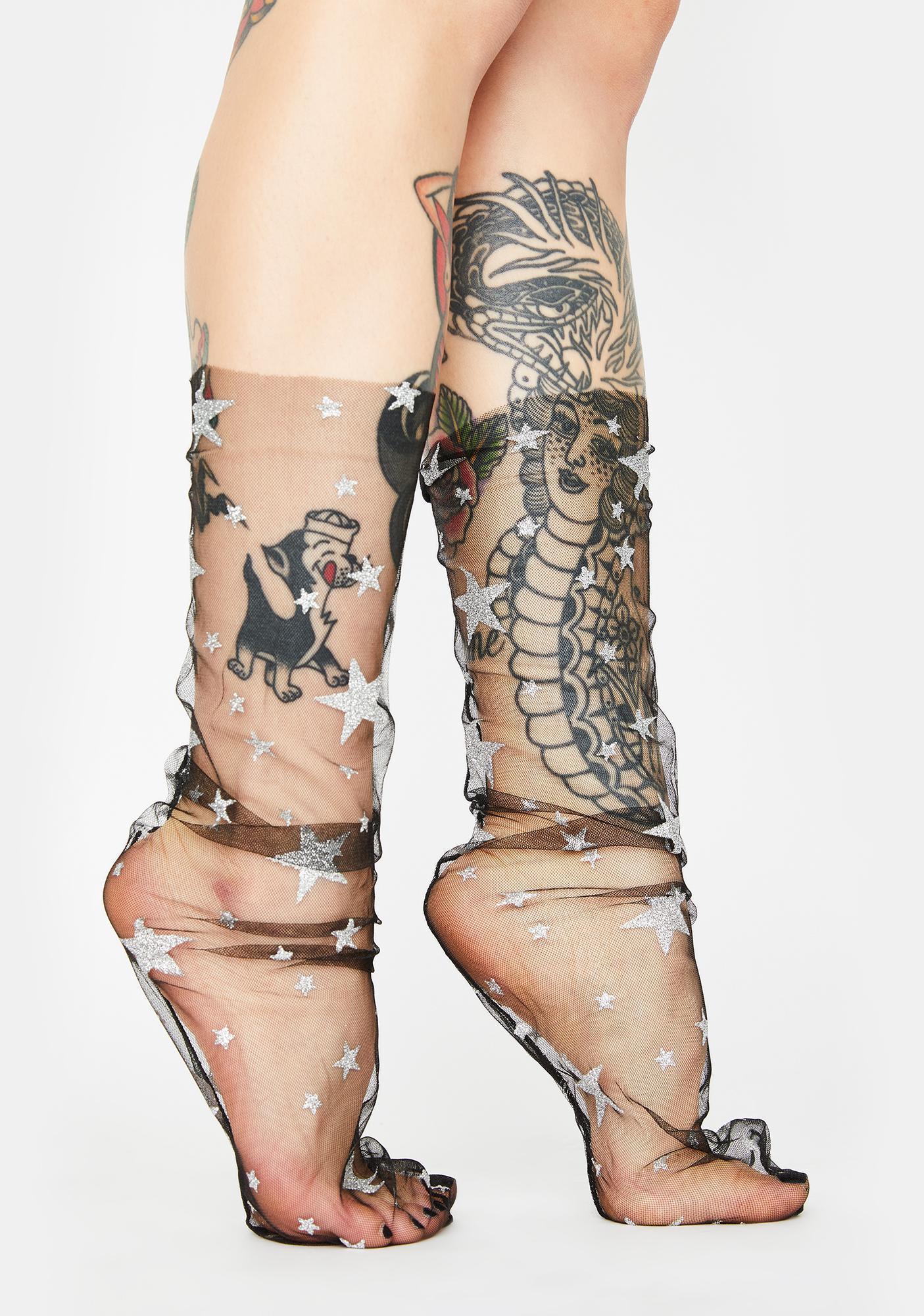 Wish Upon A Star Sheer Socks