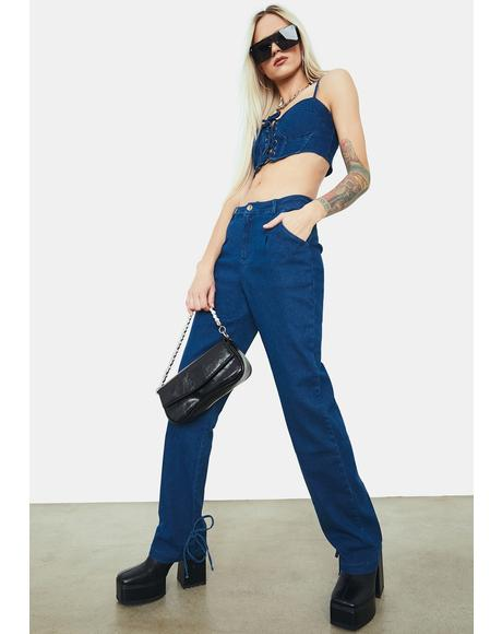 Makes A Difference Denim Pants Set