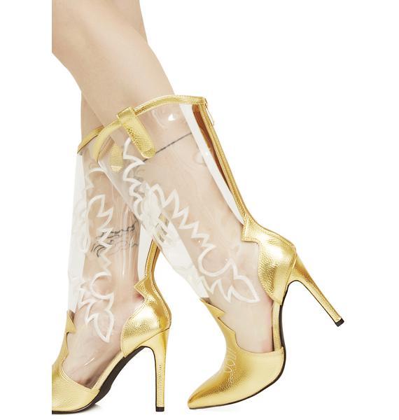 Nashville Dolly Transparent Cowboy Boots
