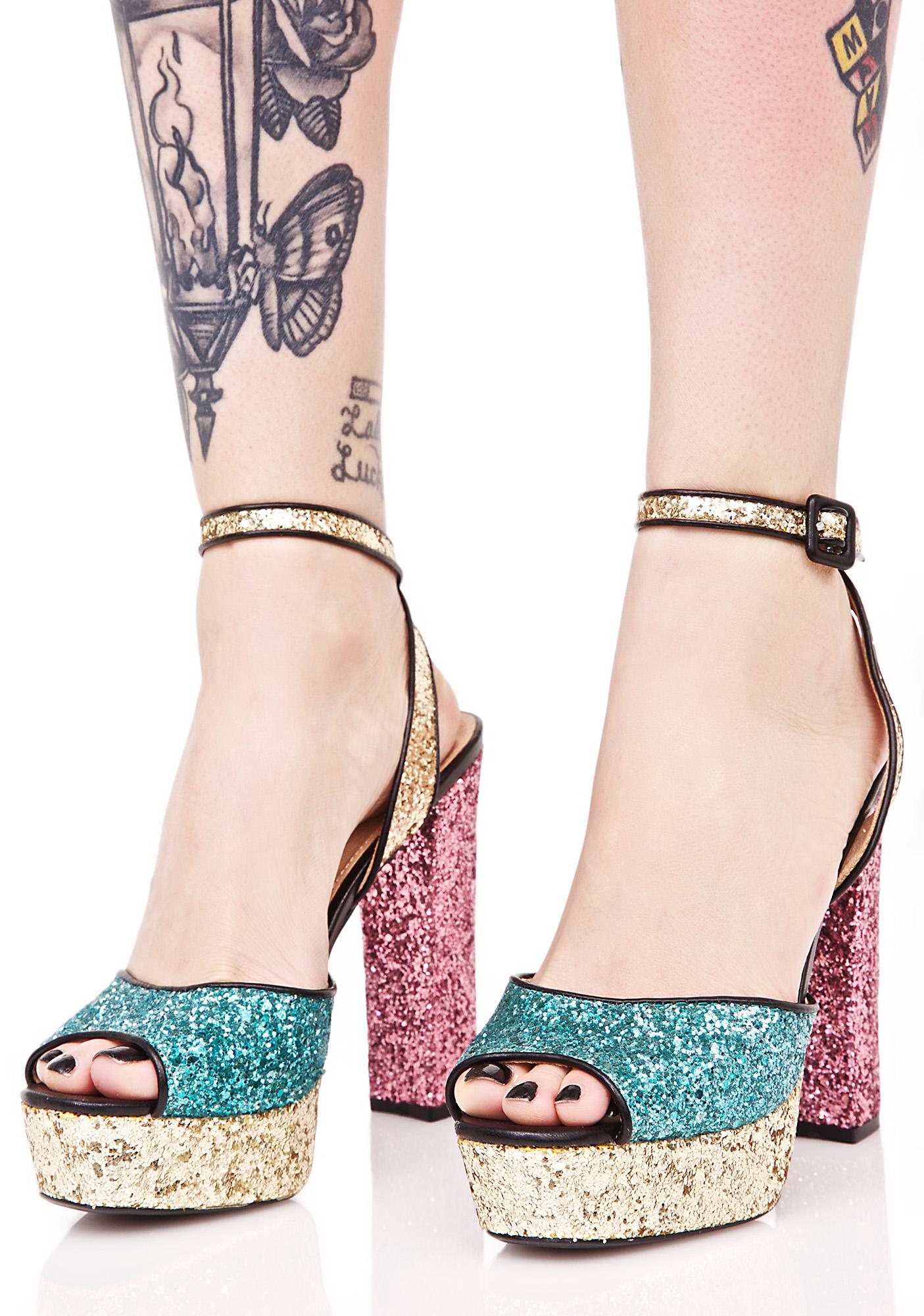 Platform Glitter Heels