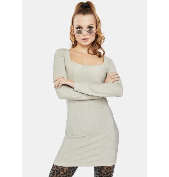 Glamorous Silver Glitter Bodycon Dress