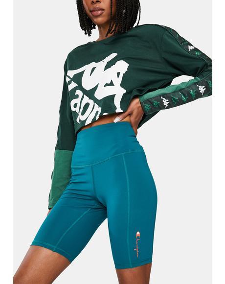 Teal High Rise Biker Shorts