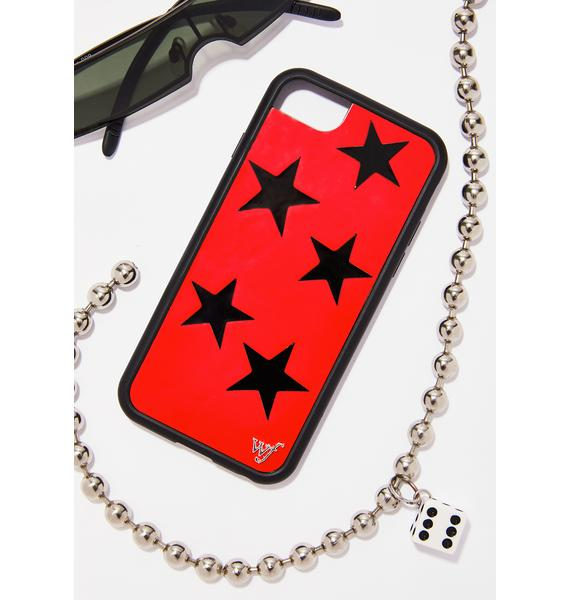 Wildflower Red Vinyl Stars iPhone Case