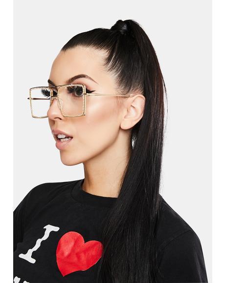 Cut To The Chase Rhinestone Glasses