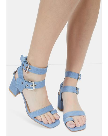 Denim Match My Pace Sandal Heels