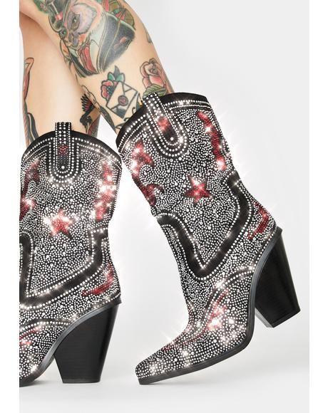 Hype Me Up Rhinestone Cowboy Boots