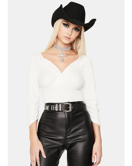 Ivory Rebel Renegade Shirred Crop Top