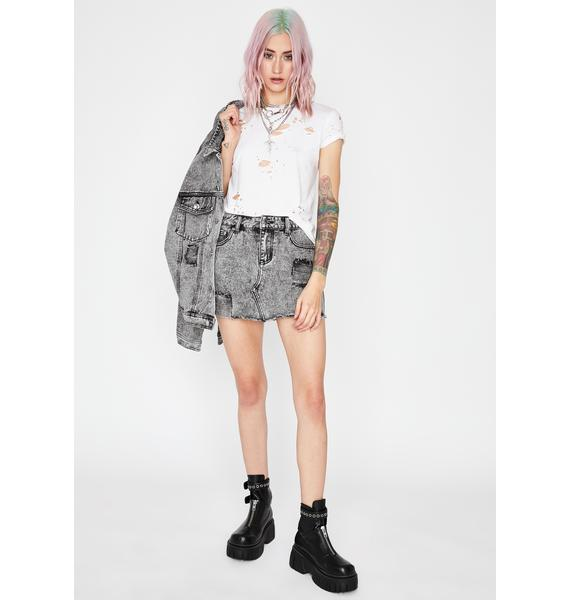Current Mood Love Or Confusion Denim Skirt