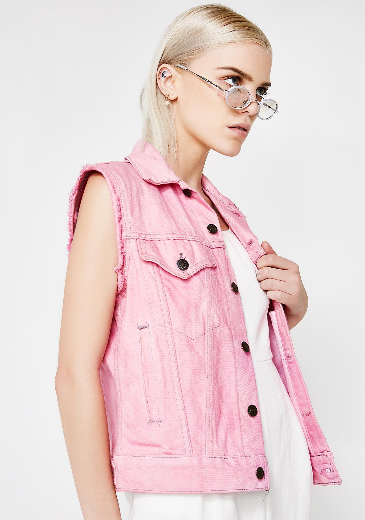 Vintage Pink Denim Vest