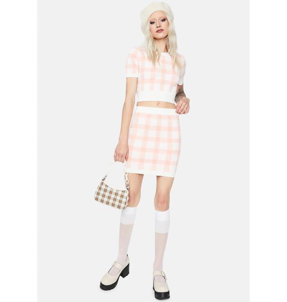 Rosy Cheeks Plaid Bodycon Mini Skirt