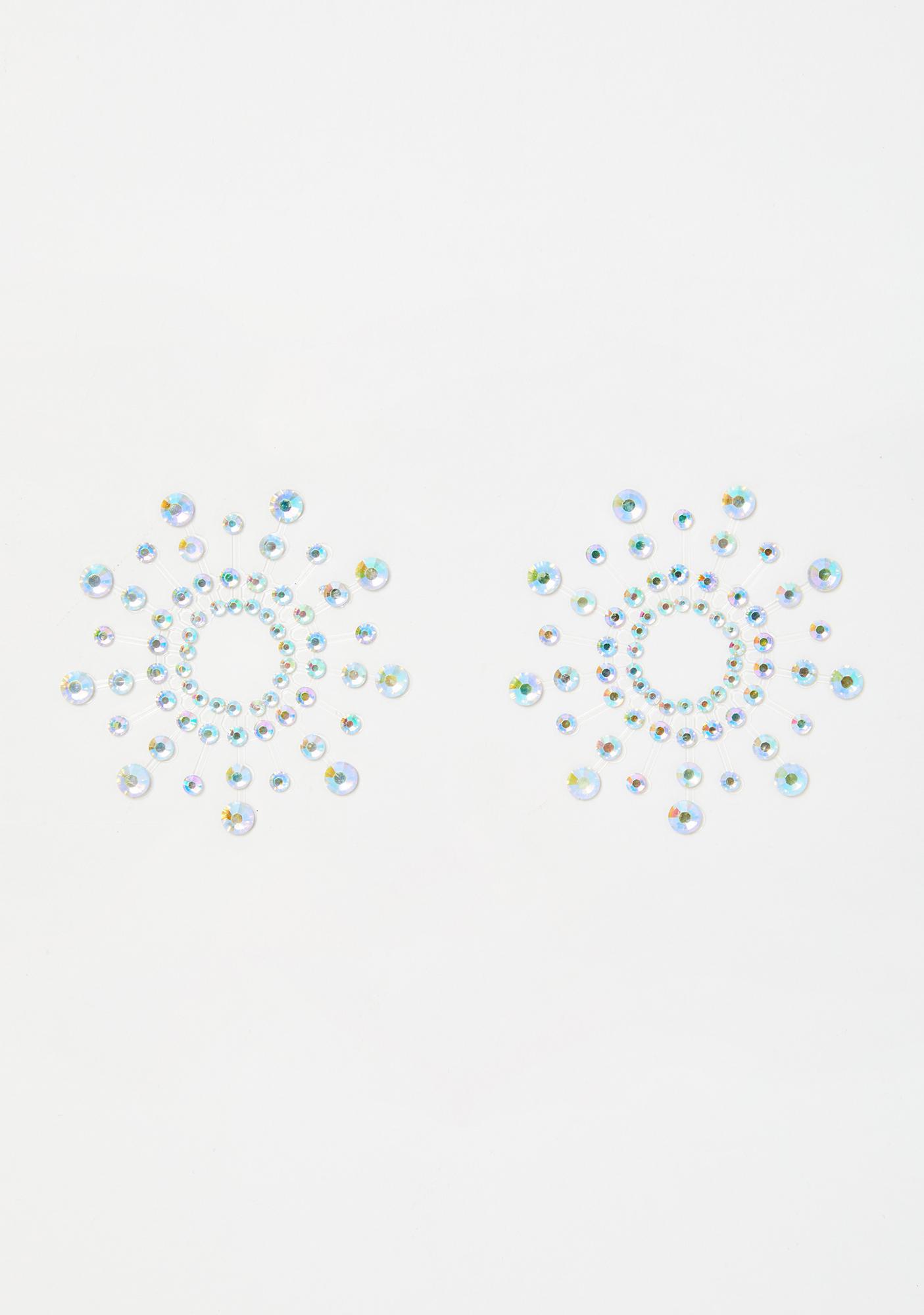 Neva Nude Iridescent Crystal Beamz Jewel Pasties