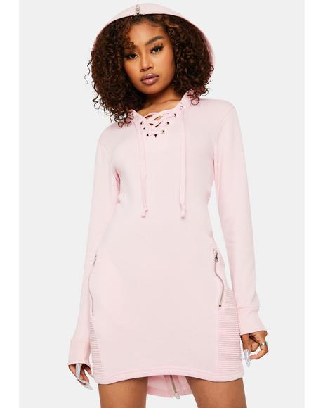 Diva Anti Love Lace Up Sweatshirt Dress