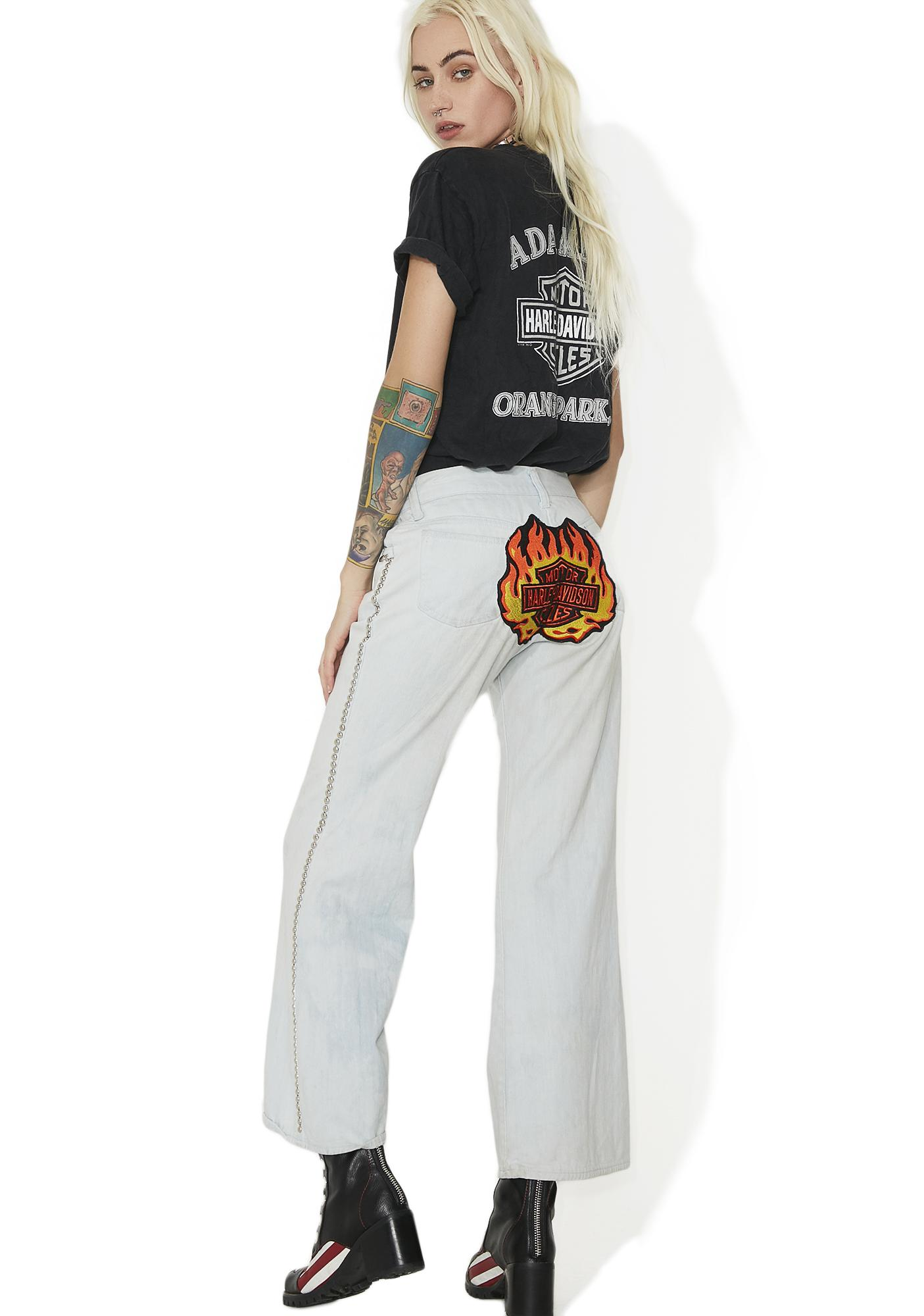 Vintage Studded 70s Harley Patch Bell Bottoms